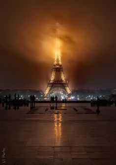 Foggy night at the Eiffel Tower in Paris by Javier de la Torre on 500px
