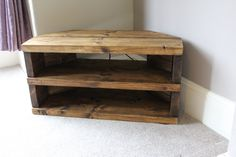 Rustic Handcrafted Chunky Reclaimed corner TV Unit stand/cabinet with two shelves In walnut wax. by NorthumbrianElements on Etsy