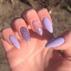 Purple Acrylic Nails, Acrylic Nails Coffin Short, Best Acrylic Nails, Purple Nails, Acrylic Nail Designs, Purple Glitter, Edgy Nails, Chic Nails, Stylish Nails