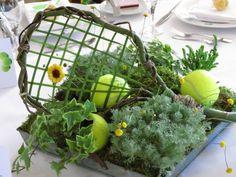 Tennis Raquet made out of Curly Willow & Grass Centerpiece