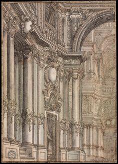 [Galería regia]. Galli Bibiena, Francesco 1659-1739 — Dibujo — 1715-1720