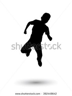 Boy jumping. Holiday Digital illustration. Silhouette, jump one boy isolated on white background. Children preschool, Sport. For Art, Print, web, Fashion, textile, craft graphic design. - stock photo