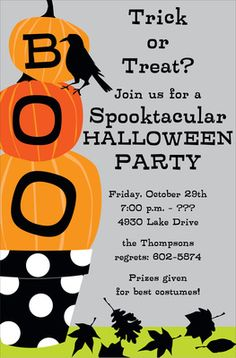 Boo Stack Halloween Invitations