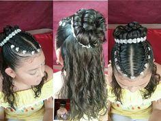PEINADO RECOGIDO ALTO Y TRENZA CORONA/ GRADUACION/ PRIMERA COMUNION / TRENZAS NMBA - YouTube Church Hairstyles, Baby Girl Hairstyles, Kids Braided Hairstyles, Princess Hairstyles, Creative Hairstyles, Cute Hairstyles, Wedding Hairstyles, Braids For Kids, Braids For Long Hair