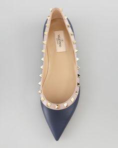 Valentino Rockstud Leather Ballerina Flat, Dark Blue - Neiman Marcus.    I dream of Valentino shoes <3