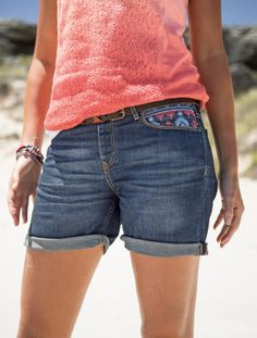 Embroidered Indigo Used Denim Shorts at Fat Face