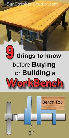 Workbench - plans, ideas, designs to know before buying or building a workbench for your garage or shop, including mobile, mobility, sturdy, height, bases, vise, dog holes, pop-up dog.