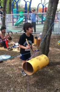 """A Music Tree And Rhythm Clothesline With """"Recycled Instruments"""" For Outdoor Musical Fun!"""
