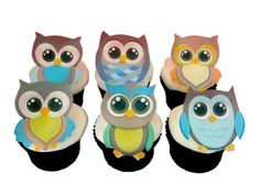 12 EDIBLE OWLS - Boys - Cupcake Toppers - Birthday Party Decorations - Cake Topper on Etsy, $9.92