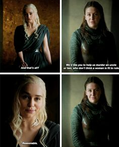 Daenerys Targaryen & Yara Greyjoy, game of thrones season 6 quotes funny humour meme