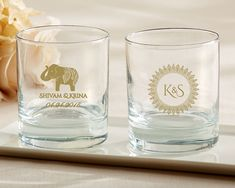 So gorgeous for an Indian or South Asian wedding! Personalize rocks glasses with henna (or mehndi) and elephant designs. Guests will love taking these home as favors! | @MyWeddingFavors
