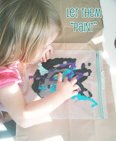 Mess-free, no clean up toddler art (great for days when Mom is sick)