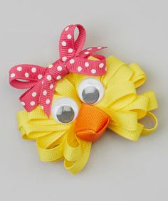 Another great find on #zulily! Yellow & Pink Polka Dot Chick Clip by Picture Perfect Hair Bows #zulilyfinds
