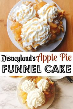 Disneyland's Apple Pie Funnel Cake A funnel cake recipe that is easy to make, delicious, and topped with apple pie filling, caramel sauce and whipped cream. Just like the funnel cake from The Hungry Bear Restaurant at Disneyland. Funnel Cake Recipe Easy, Easy Cake Recipes, Apple Recipes, Dessert Recipes, Funnel Cake Topping Recipe, Banana Recipes, Free Recipes, Food Truck, Cake Toppings