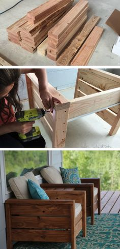 Easy to build, sturdy modern outdoor chairs for deck or patio. See how you can turn a few 2x into a functional work of art.