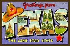 Texas Large Letter - 1930 Postcard. Quilt Block printed on cotton. Ready to sew.  Single 4x6 block $4.95. Set of 4 blocks with free Wall Hanging Pattern $17.95.