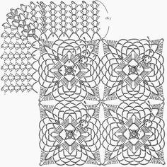 Horgolt minták: horgolt mintát a terítő Vagy Ágytakaró - Beautiful tér motívum