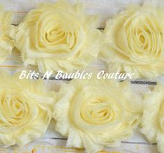 1/2 or 1 yard pale yellow shabby chic flower trim.. shabby trim .. chiffon flowers .. shabby flowers .. rose trim .. diy supplies on Etsy, $1.85
