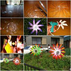 moulin à vent en papier coloré et plasitque transparent comme déco de jardin