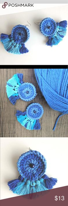 Large tassel earrings round statement jewelry blue These are handmade earrings from 100% organic cotton yarn with silver plated hooks. CottonArtBoutique Jewelry Earrings