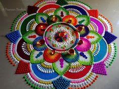 Colorful, attractive and unique rangoli for diwali. Easy Rangoli Patterns, Rangoli Designs Latest, Rangoli Designs Flower, Rangoli Border Designs, Small Rangoli Design, Colorful Rangoli Designs, Rangoli Designs Images, Rangoli Ideas, Rangoli Designs Diwali