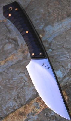 """FIMN blade of 3.75"""" forged in 0.75 carbon steel with selective temper , toxified ebony slabs , oal of 7.88"""" available www.aufildelalame.fr"""