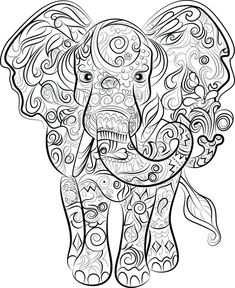Elephant Adult Coloring Pages Best Of Elephant Drawing Instant to Print and Colour Elephant Coloring Page, Animal Coloring Pages, Coloring Pages To Print, Coloring Book Pages, Coloring Sheets, Free Coloring, Elefante Tribal, Elephant Colour, Printable Adult Coloring Pages