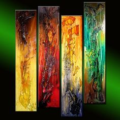 """Original modern textured Colorful abstract painting contemporary Wall Art on canvas by Henry Parsinia 36x32 TITLE ; TRUTH OF TOUCH SIZE : 32""""X36""""X1.58"""" 4 PANELS"""