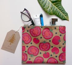 Hand made cotton cosmetics bag, our pattern design