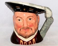 """Royal Doulton King Henry VIII Toby (character) Jug.Purchased in London many years ago.A popular song of 1761,""""The Brown Jug,"""" features  character named Toby Fillpot, inspired Staffordshire potter Ralph Wood to design first """"Toby."""" Jugs quickly gained popularity,major potters developed own renditions.Royal Doulton made them in traditional manner since 1815. In 1920's added colour & jug based on head & shoulders rather than full figure,CALLED Toby Jugs but should strictly be called character…"""