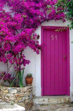 Beautiful pink door with bougainvillea in Alonissos, Greece The Doors, Windows And Doors, Front Doors, Front Entry, Entry Doors, Beautiful Flowers, Beautiful Places, Beautiful Gorgeous, Simply Beautiful