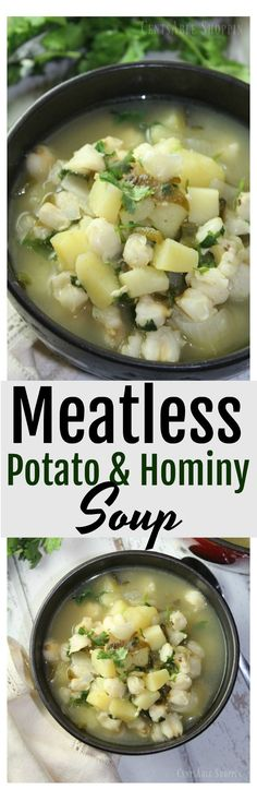 Combine potatoes, poblano chiles and hominy in this rich and hearty soup that is easy to make & full of flavor, easily made in your Instant Pot or dutch oven.