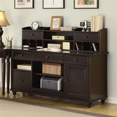 Golden Oak 2 piece Hampton Bay Credenza Hutch Desk, Chocolate Oak. ATG
