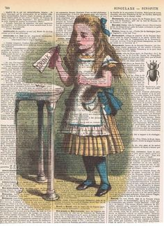 Alice in Wonderland, Drink Me. Colour. Antique French Book Page Print