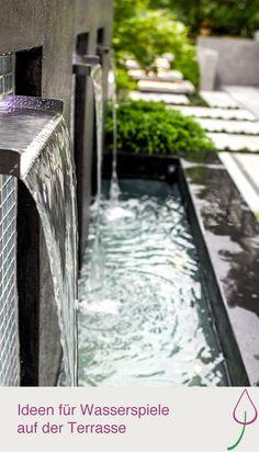 Ideen für Wasserspiele im kleinen Garten oder der Terrasse.