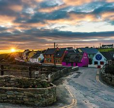 GOODNIGHT FROM DOOLIN ... County Clare.  The sun sets over Doolin, a gorgeous little seaside village on the north-west coast, the traditional music capital of Ireland and gateway to the Burren and Aran Islands.  Doolin is a place of breathtaking beauty set against the rugged Atlantic Ocean and surrounded by the spectacular bare limestone landscape of the Burren.