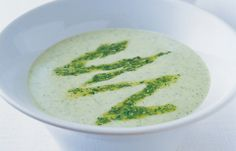 This light summer soup is perfect for late summer when courgettes are cheap and plentiful. Serve each bowl with a spoonful of the watercress and Pecorino pesto zigzagged over the surface of the soup.
