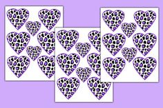 LEOPARD HEART DECALS Stickers Purple Wall Art for animal print teen girl's bedroom. Available in Hot Pink, Turquoise Blue, Rainbow, and Brown #decampstudios