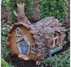 Miniature Garden Fairy Gnome Hobbit House Log Home Fiddlehead in Outdoor | eBay