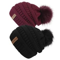5ccb5e521bc Enjoy exclusive for QUEENFUR Women Knit Slouchy Beanie Chunky Baggy Hat  Faux Fur Pompom Winter Soft Warm Ski Cap online - Allfashiondress