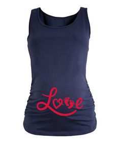 Navy 'Love' Footprint Maternity Tank #zulily #zulilyfinds
