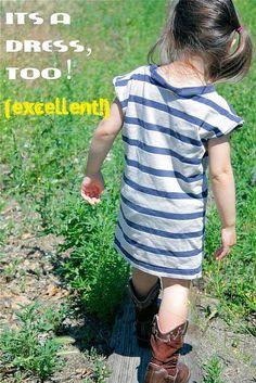 little girl's t-shirt dress made from a boy's large shirt