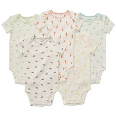 Carter's Unisex Baby 5-Pack S/S Bodysuits - Multi Print - 6 Months. MP Short Sleeve.