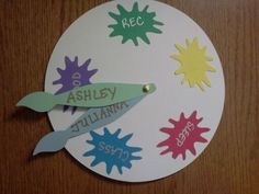 Painting wheel with brushes as indicators. Great idea for door decs!