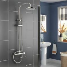 Round Bar Mixer Shower Set Thermostatic Valve with 8 Shower Head Hand Held by iBathUK