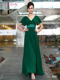 Glamorous Green Double V-Neck Ruffles Padded Evening Dress