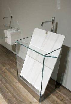 """marble slab in/for bathroom sink. Antonio Lupi """"Dressed Stone"""" bathroom by sheryl Lavabo Design, Sink Design, Toilet Design, Design Design, Stone Bathroom, Modern Bathroom, Small Bathroom, Bathroom Sinks, Half Bathrooms"""