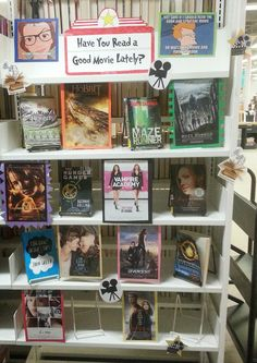 Oberlin Public Library Displays: August Young Adult Display - have you read a good movie lately? School Library Decor, Middle School Libraries, Elementary Library, Public Libraries, Teen Library Displays, School Displays, Library Books, Library Ideas, Library Humor