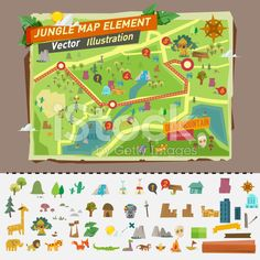 jungle map with graphic elements - vector royalty-free stock vector art