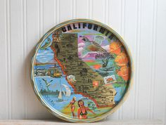 Vintage Souvenir Tray - California - 1960's Travel USA